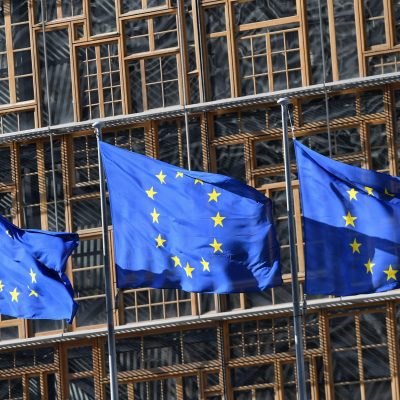 EU flags fly in front of the European Council ahead of the European parliamentary elections in Brussels on May 14, 2019. - The European elections are set to take place on May 23-26, 2019 in all 28 member states. (Photo by EMMANUEL DUNAND / AFP)        (Photo credit should read EMMANUEL DUNAND/AFP via Getty Images)